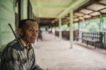 An elderly man in the Long Liam village along the Baram River in Borneo, Malaysia